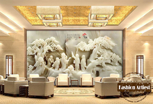 Custom 3d Chinese jade carving wallpaper mural ancient fairy on mountain peace scenery tv sofa bedroom living room background