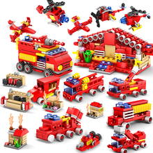KAZI 414pcs Fire Station Building Blocks Compatible legoed city Firefighter Educational Construction Bricks Hobbies children Toy(China)