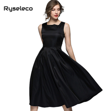 Ryseleco Spring Hot Hepburn Wind Black Sleeveless Tank A-Line Large Swing Square Collar Women Dresses Classic Casual Flare Dress(China)