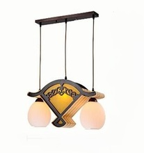 Classical Chinese Fancy Sheepskin Art Wooden Bamboo Restaurant Projector Fan Pendant Lights LO81108(China)