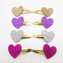 12pairs/lot Glitter Felt Sweet Heart Snap Hair Clip Classic Gold and Silver Valentine's Day Gift Sparkly Purple Rose Barrette