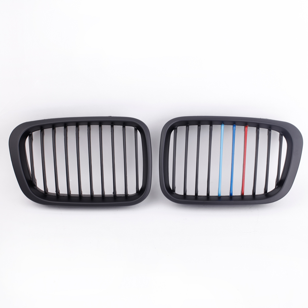 Matte black m color front car style radiator racing grills for bmw hot sale car style 2pcs matte black m color front racing grilles for bmw e46 fandeluxe Images