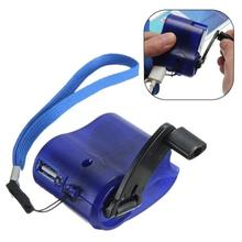 2017 New Hot Phone Hand Crank Dynamo Charger Charging USB Hands Blue Emergency USB Hand Dynamo Charger