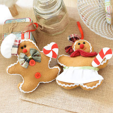 PINJEAS 2Pcs Christmas Gingerbread Man Snowman Cloth Ornament Christmas Tree Decor Best Gifts For Children Baby Room Decorations