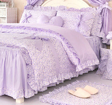 Romantic purple floral bedding set,girls twin full queen king 100% cotton ruffle bedclothes bedskirt pillow case comforter cover(China)