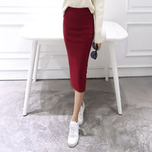 A Little Thick 2016 Autumn Sexy Chic Pencil Skirts Office Look Natural Waist Mid-Calf Solid Skirt Casual Slim Hip Placketing(China)