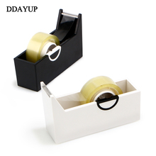 Creative Square Plastic Tape Seat Tape Holder Office Tape Dispenser Desktop With Tape Cutter Supplies(China)