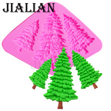 3 Hole Christmas Tree silicone fondant moulds pine cake decorating tools chocolate gumpaste mold kitchen bar supplies T0972(China)