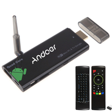 Andoer CX919 Android 4.4 Smart TV Dongle Stick Quad Core 2GB 16GB Bluetooth 4.0 1080P XBMC DLAN External WiFi Antenna + Keyboard(China)
