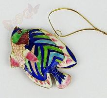 Wholesale Collectibles 6pcs Chinese Handmade Classic Cloisonne/Enamel Fish Ornament for christmas decoration(China)