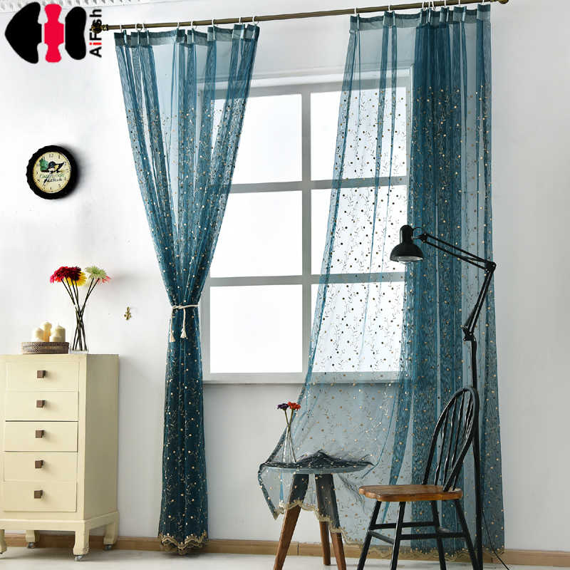 Cheery Embroidered Eaves Luxury purple sheer curtain tulle Valance blue Curtains for Living Room Wedding curtains blue WP120B