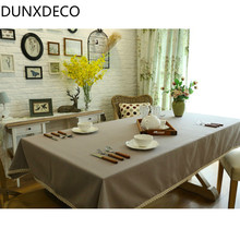 DUNXDECO Tablecloth Gray Cotton Blend Linen Look Slub Fabric Table Cover Solid Color Country Style Decoration