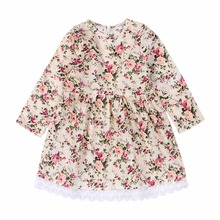 Puseky Pretty Girls Dress Lovely Floral Print Long Sleeve Flower Kids Dress Baby Girl Clothes Princess Dresses 1-6Y Autumn
