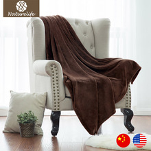 Naturelife Brown Soft blanket fleece bed airplane blankets sofa travel throws soft flannel fleece blanket Queen manta sirena(China)