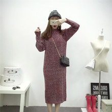 4944# High Neck Knitted Maternity Sweater Dresses 2017 Autumn and Winter Thicken Long Clothes for Pregnant Women Slim Pregnancy