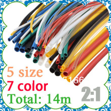 High quality 7 color 140pcs Assortment 2:1 Heat Shrink Tube Tubing Sleeving Wrap Wire Cable Kit