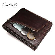 CONTACT'S Genuine Leather Men Wallet Fashion Brand Bifold Design Men Coin Purse High Quality Male Card ID Holder Dropshipping(China)