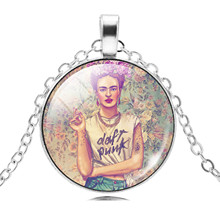 11 Kinds Frida Kahlo Glass Cabochon Choker Necklace Women Jewelry Vintage Silver Color Chain Statement Necklace & Pendant 2017(China)