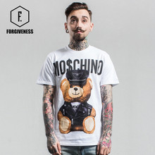 FORGIVENESS tide brand summer fashion leather bear new toy cotton casual short-sleeved men T shirt