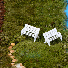 2017 2pcs White Park Benches Modern Miniature Fairy Garden Miniatures Accessories Toys for Doll House Decoration Resin Crafts(China)