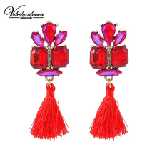 Vodeshanlien Hot colour Glass Tassels Drop Earrings For Women Wedding Jewelry Charm Fringed Dangle Earrings Statement Bijoux()