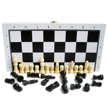 Black/White Travel Chess Game Set Pieces Wood with International Chess Board Chessman Checkerboard Toys Table Games(China)
