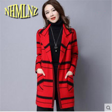 2018 New Autumn and Winter Women Coat Long-sleeved V-neck Plaid Medium Long Knitted Cardigan Women Coat Loose Casual Wind WUN33(China)
