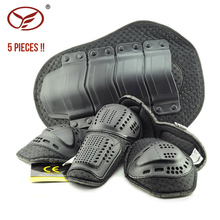 YF 5Pcs High Quality Motorcycle Armor Protector Armor Kits Soft Elbow/knee Pads Back Protector Pads Motorcycle Riding Protection