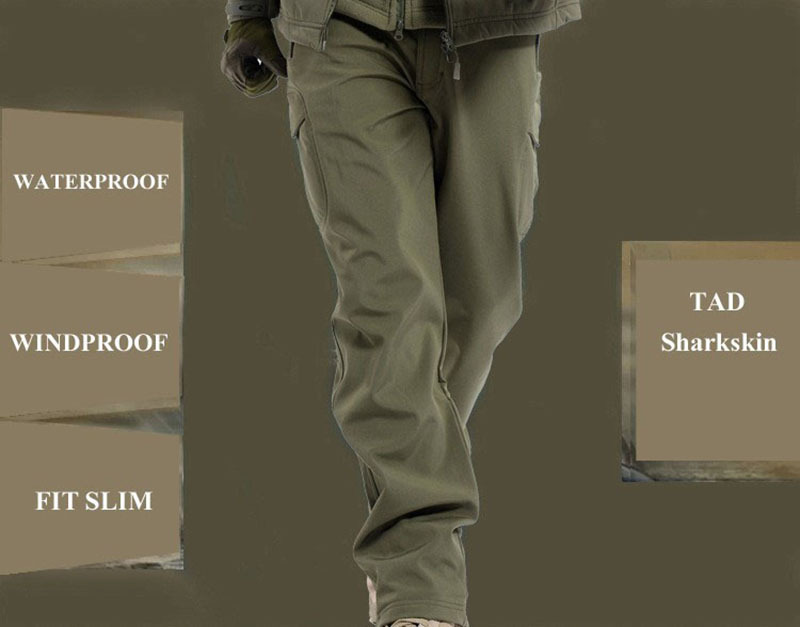 TAD Shark Skin Army Pants Waterproof Windproof Outdoors CS Camouflage Pants Men Fleece Trousers Military