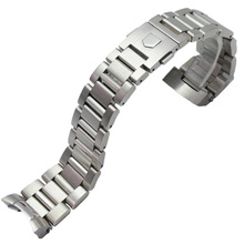 22mm Stainless Steel Watchband Bracelet Silver Black Mens Luxury Replacement Curved End Metal Watch Strap Accessories For(China)