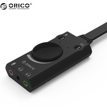ORICO SC1 External USB Sound Card Stereo USB Sound Card Mic Speaker Audio Jack 3.5mm Cable Adapter for PC Laptop Free Drive