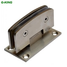 Stainless steel 90 degree glass door clamp arc bathroom glass hinge glass hinge 304 drawing glass door clip(China)