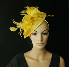 NEW 31 colours Yellow Feather sinamay fascinator hat for Wedding,Ascot Races,Party,Kentucky Derby,Melbourne Cup.FREE SHIPPING