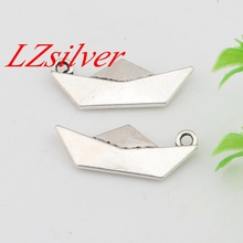 Hot Sale !  100pcs Antique silver Zinc Alloy Origami Paper Boat Folding Art Charm  10x25mm DIY Jewelry A-452