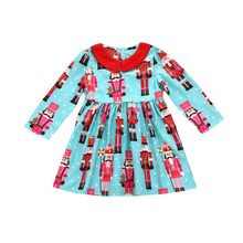 Baby Children Girls Long Sleeve Christmas Dress Blue Xmas Snowman Dress Peter Pan Collar Party Dresses Girl Autumn Clothing(China)