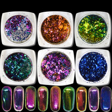 1 Box Hot Sale Chameleon Mirror Glitter Effect Nail Art Shinny Powder Dust Sheets Tips Nail Chrome Pigment DIY Tools CHBS07-27