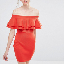 American Apparel Slash Neck Sexy Dress Female Butterfly Sleeve Ruffles Orange Dresses for Women Summer Elegant Lady Vestidos XL