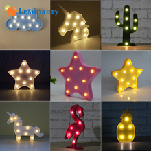 Lumiparty 3D Cute Small LED Night Light Bedroom Unicorn Cloud Moon Star Heart Home Decor Battery Powered Wall Lamp(China)