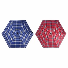 Men and Women Mini Pocket 5 Folding Parasols Anti-UV Sun Umbrella Plaid Rain Umbrellas red and blue(China)
