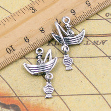 10pcs Charms fisherman fishing boat 31*19mm Tibetan Silver Plated Pendants Antique Jewelry Making DIY Handmade Craft(China)