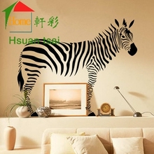 High Quality Large Size Animal Wall Sticker With Removable PVC Sticker For Bedroom Wall Decor Black Zebra Pattern Wall Stickers(China)
