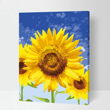 Sunflower blue sky Frameless Pictures Painting By Numbers DIY Digital Oil Painting On Canvas Home Decoration 40x50cm