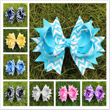 5 inch boutique kids big child decorations for hair of grosgrain ribbon bows with clips for girls hairbows accessories hairpins