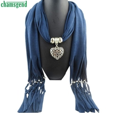 Trendy Style Fashion Women Winter Heart Hollow Pendant Necklace Scarf Lady Tassel Warm Scarves Gift 1PC