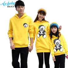 The new spring clear babe Hooded Fleece sweater leisure PU pickup through bear family W002 yellow(China)