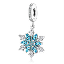 Buy 925 Sterling Silver Beads Fit Original Pandora Charms Bracelets Snowflake Dangle Charm Clear Blue Cubic Zirconia Berloque for $7.07 in AliExpress store