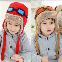 Fashion children hat glasses cashmere yarn pilot cap winter keep warm thickening boys girls Ear protection cap free shipping