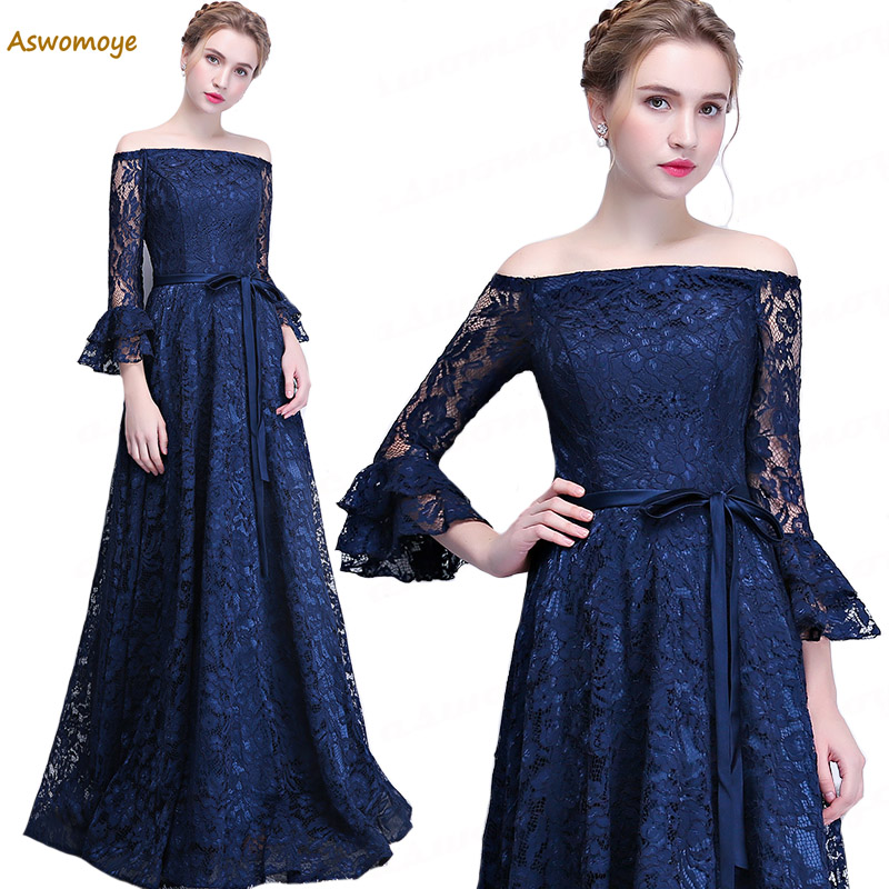 Aswomoye Elegant A-Line Lace Evening Dress 2018 New Floor Length Boat Neck Prom Dress Three Quarter Sleeve robe de soiree
