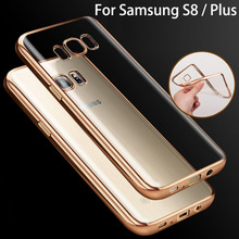 luxury original coque case for samsung galaxy s8 s 8 / s8 plus s8plus rose gold plating tpu transparent clear soft phone cover