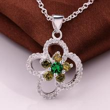 Women's Silver Plated AAA Cubic Zircon Pendant Necklace Chain Fashion Fine Jewelry Wholesale Gifts Collection For Women
